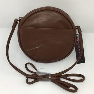 Brown circle mini crossbody bag